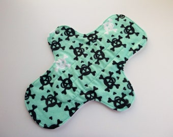 12 inch cloth pad - cloth menstrual pad - mama pad - heavy flow pad - plus size cloth pad - teal & black skulls flannel top - made to order