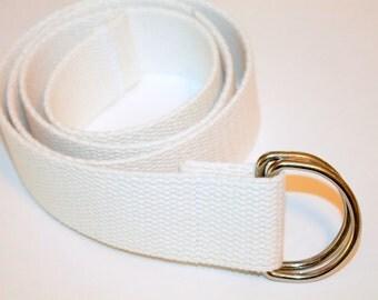 """White Belt white Webbing Belt Mens White Belt Mens D Ring Belt Ladies White D Ring Nautical Belt Wedding Attire Summer Belt 1.5"""" Wide"""
