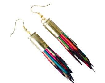 Rainbow Porcupine Quill Earrings - Porcupine Quill Jewelry - Taxidermy, Punk, Alternative Jewelry