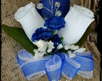 Royal blue White Roses pin-on Corsage silk Wedding Bridal flowers mother grandmother prom