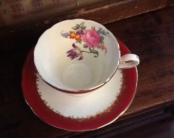 Vintage 1930's Aynsley tea cup and saucer red with colourful floral splash Art deco