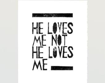 Wall art decor poster girls room home artwork - He Loves me He loves me not  - Printable file from Linocut Art Print