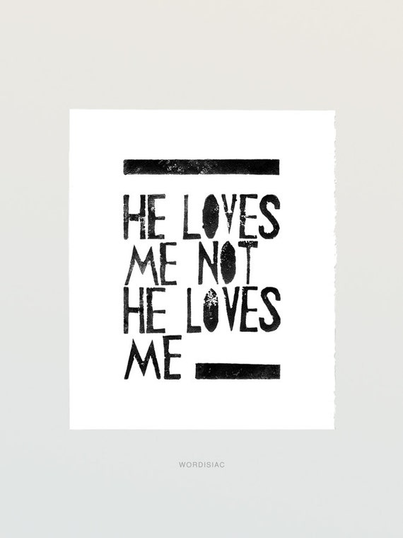 Wall art decor poster girls room home artwork - He Loves me He loves me not  - Printable file from Linocut Art Print