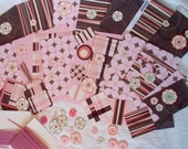 Large destash lot. Scrapbook paper, ephemera, tags, pink, brown, cardstock, buttons, ribbon, collage, decoupage, art journal, 69 pieces