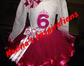 Custom Princess Birthday tutu ribbon trimmed