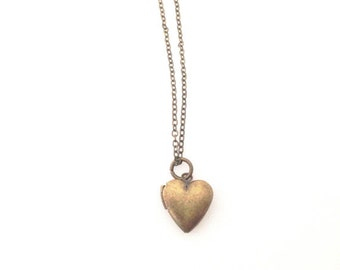 Tiny Antiqued Brass Heart Locket.  Vintage Style Heart Locket.  Antique Brass.