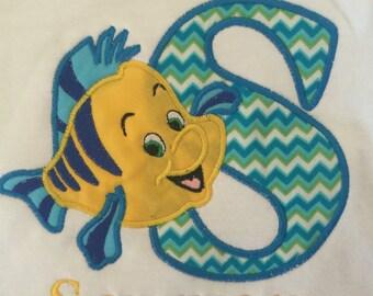 Flounder Shirt, Little Mermaid Shirt, Personalized, Monogrammed, Embroidered Shirt