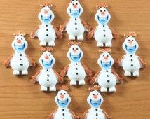 Moving Sale 10 Frozen Olaf Snowman Resin Flat Backs Scrap Booking Hair Bow Center Craft Making Embellishments DIY
