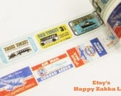 Traffic Tickets - Japanese Washi Masking Tape - 11 Yards - Bus Ship Tickets and Airplane Tickets for choice