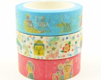 Love Yoga - Japanese Washi Masking Tape set - 7.6 Yards (each roll) - 3 rolls