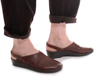 HOLIDAY SALE Josef Seibel slingback mules / brown leather clogs / vintage slip on mules / size 40