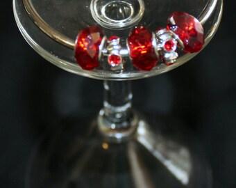 Red and Silver Screw Clasp Pandora Bead bracelet