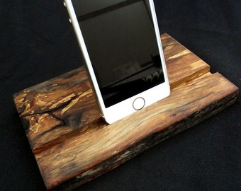 Natural Ipad stand, docking station,  wood reclaimed organic figured maple free US shipping