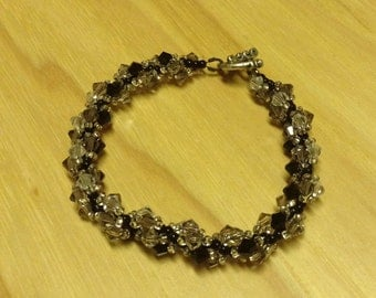 Bead Woven Swarovski Crystal Bracelet Black Grey Clear
