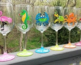 Seashore Girls weekend Party hand painted wine glasses.