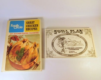 Vintage Chicken COOKBOOKS - Lot of 2 Fowl Play by J Rawson - Funny / Family Circle Book - Cooking Recipes