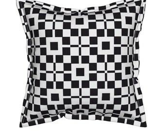 Black + White Geometric Throw Pillow, Flange Edge Pillow + Insert, Throw Pillows, Unique Pillow, Squares Pattern, Cross Pattern, Cushions