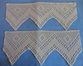 "Vintage Lace - Handmade Crochet Ceam colored, 10"" to points wide, 2 - 24"" lengths, diamond and flowers pattern, sewing or window valances"