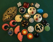 Vintage Supplies - Lot of 26 colorful broken Jewelry parts and buttons, enamel, glass, celluloid, gold tone metal, repurpose in crafts