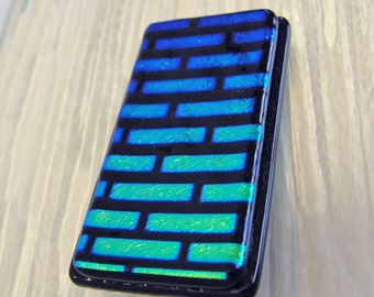 Money Clip, Dichroic Fused Glass Money Clip, Colorful Brick Pattern, Blue Glass Art, Presents for Him or Her Under 30 Dollars, Birthday Gift