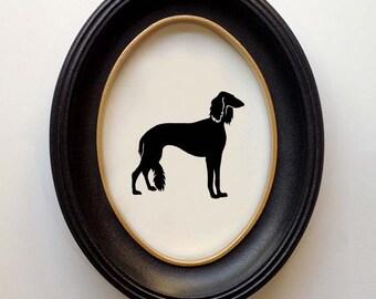 FRAMED Saluki Silhouette - Hand-cut Original Dog Art Design:DOG-SKI01