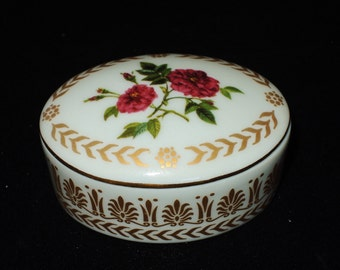 Vintage Porcelain Empress Josephine's Rose Garden Collection, Tiny Trinket Box