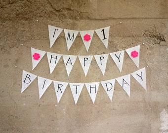 Girls First Birthday Banner, Burlap Happy Birthday Banner, I'm One, Pink Birthday Bunting