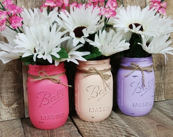 3 Ball Pint Mason Jar Vases-Distressed-Shabby Cottage Chic-Antique/Vintage Style-Wedding,Baby Shower,Nursery-pink,peach,purple-Color Choices