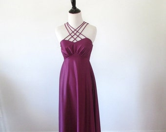 l SALE l Vintage 1970's Dress l Purple Criss Cross Disco Dress l Size Small l Vintage Dress
