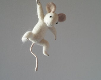 Hanging White Mouse ,Animal Jewelry, Felted Brooch
