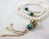 Pearl Tasbih Tasbeeh Sibha Misbaha 99 bead count luxury Swarovski blue gold Islamic Rosary Muslim Wedding