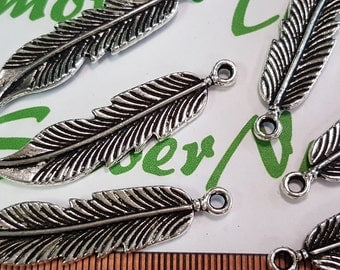 8 pcs per pack 43x10mm Feather Charm Antique Silver Finish Lead Free Pewter