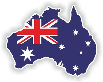 Australia Map Flag Silhouette Sticker for Laptop Book Fridge Guitar Motorcycle Helmet ToolBox Door PC Boat