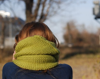 Hand knit chunky cowl infinity scarf olive green - neckwarmer - oversized scarf- gift idea - Ready to ship
