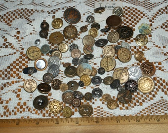 "BulkVintage 75 Vintage Fancy  Metal Buttons  5/16"" to 1 1/8"" Lot 1681"