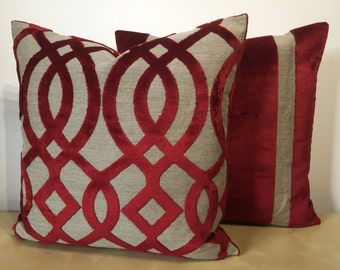 Cherry Red WIDE STRIPE & TRELLIS design cut velvet on natural linen background large square cushion cover in Osborne and Little fabric.