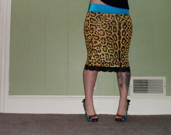 Yellow Leopard - Animal Print Pencil Skirt