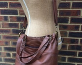 Recycled leather bag - Hobo style bag made with brown leather with a detachable adjustable strap.