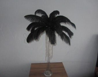 100  Black  Ostrich Feather Plume for Wedding centerpieces AA quality