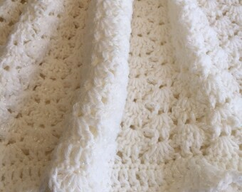 """Cozy Baby Afghan in """"Sparkly White"""", Crochet Baby Blanket, Crochet Baby Afghan, Spring Afghan, Newborn Baby Afghan, Baby Afghan in White"""