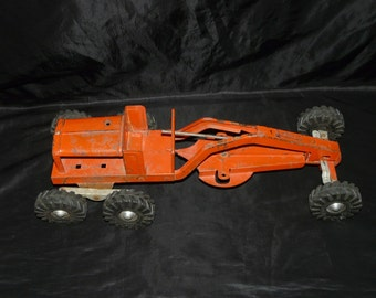 Vintage 60s Orange Construction Road Grader Toy Pressed Steel Tractor