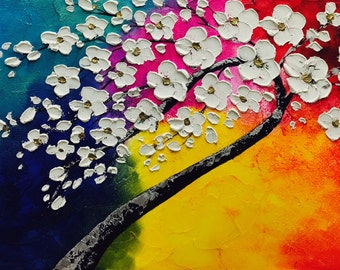"""XL Oil Multi Color blossom tree of life painting Abstract Original Modern 48"""" palette knife impasto oil painting by Nicolette Vaughan Horner"""