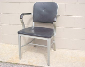 Mid Century Industrial Goodform Arm Chair Machine Age Steampunk Office ALUMINUM