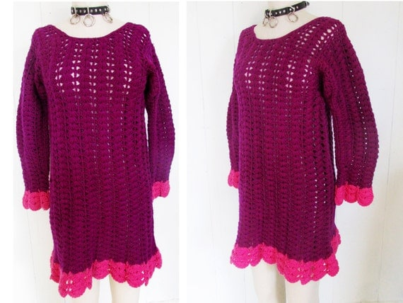 Purple Pink Crochet Knit Chunky See Through Hippie Sweater Dress
