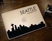 Seattle Skyline Macbook Decal 4 | Macbook Sticker | Laptop Decal | Laptop Sticker | Car Sticker