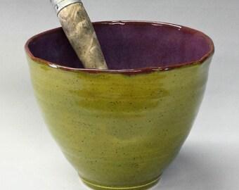Ceramic Bowl - Purple & Olive Green