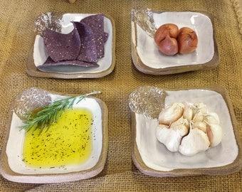 Square Tapas   Appetizer Plates - Set of 4 Dishes - Rustic Unique Natural
