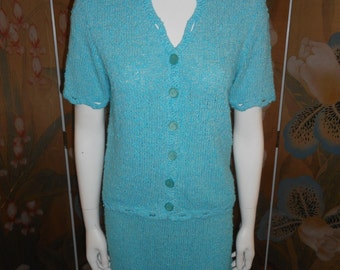 Vintage 1970's Turquoise Blue Knit Top & Skirt Set - Size