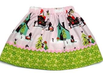 Girls Christmas Skirt Pink Alpine Wonderland Green Poinsettia Size 4 / 5T - Ready to Ship