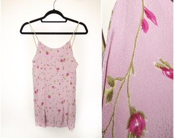 Pink Rose Crepe Cami Dress Made to Order 90s Inspired Lolita Summer Dress